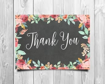 Chalkboard Thank You, Floral Thank You Card, Printable Thank You, Wedding Thank You, Chalkboard Wedding, Rustic Thank You, Thank You Note