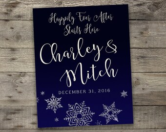 Navy Snowflake Wedding Entrance Sign, Wedding Welcome Sign, Wedding Sign, Wedding Sign Ideas