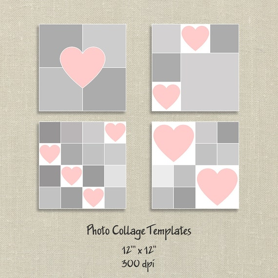 4 photo templates photo collage template hearts card template storyboard template valentine. Black Bedroom Furniture Sets. Home Design Ideas