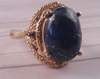 Karis Blue Cabachon Costume Ring