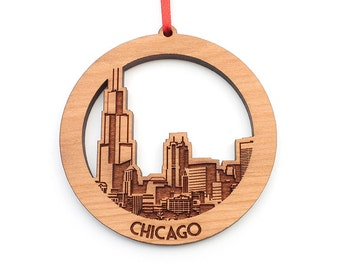 Chicago Christmas Ornament Downtown Chicago City Skyline Ornament Wood Christmas Ornament