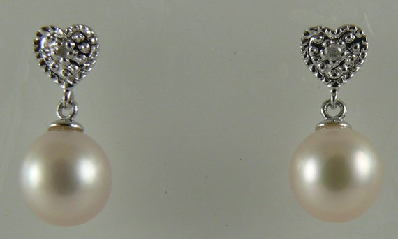 Freshwater White 6.8mm & 6.9mm Pearl Earring with Diamonds 0.02ct 14k White Gold