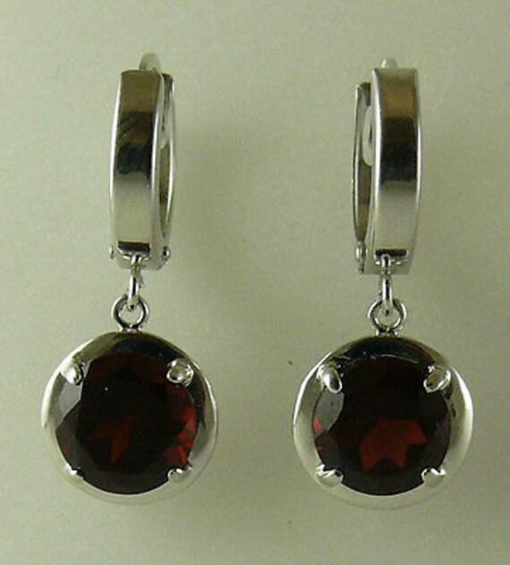 Garnet 4.27ct Earring 14k White Gold