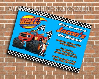Blaze and the Monster Machines Invitations - Birthday Party Invite - Printable & Shipped