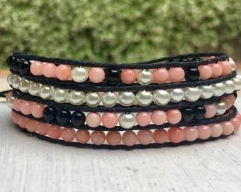 Pink Coral White Black Beaded Wrap Bracelet; Beaded Bracelet; Beaded Anklet; Stacking Bracelet; Layer Bracelet; Chan Luu Style; Boho Wrap