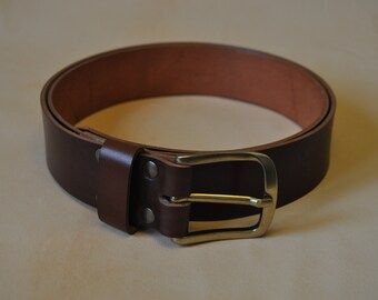 Belt of leather Brown with buckle rounded and PIN independent of 4 cm