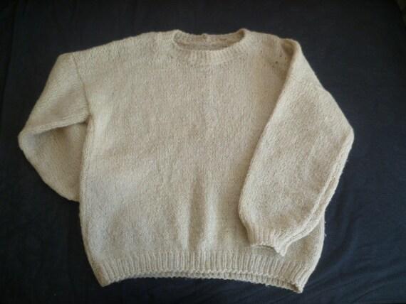 Invierno Vintage suéter de lana blanco manga blusa por HobbyDiyJob