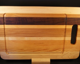 Handmade Wooden Cutting Board with Handle and Juice Groove