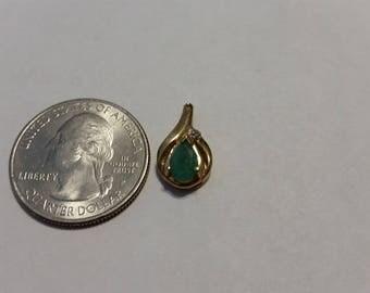 Vintage 14k yellow gold emerald diamond pendant baer