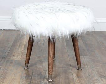 Mid century Modern bench/Foot Stool/Ottoman White Faux Fur