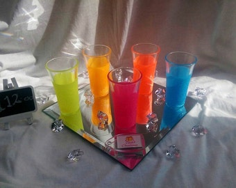 Shot glasses, neon glitter, glitter shot glasses, adult gifts, party glasses, adult game pieces, neon glitter shot glasses