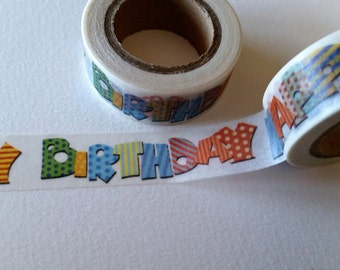 Patterned Happy Birthday text Washi Tape