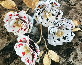 2017 Playing Card Flowers, Set of 4,Casino Party, Vegas Wedding, Poker Flowers, Casino Decor, Poker, Paper Flowers, Playing cards
