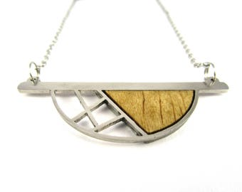 "Geometric wood stainless steel necklace | ""Sunset"""