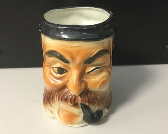 Vintage Toby Mug man winking with mustache and pipe marked Japan