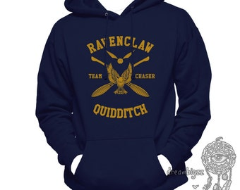 CHASER - Ravenc Quidditch team Chaser YELLOW print printed on Navy Hoodie