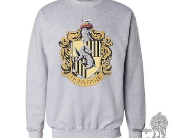 Huffle #1 Crest printed on white or lightsteel color Crew neck Sweatshirt