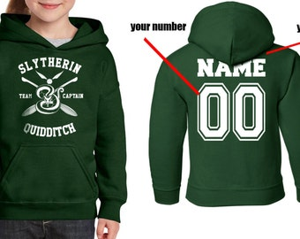CAPTAIN - Custom Back, Slyth Quidditch team Captain printed on Youth / Kids Hoodie
