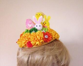 Easter Hat, Easter Fascinator Hat, Easter Mini Hat, Hatinator, Girls Hat, Easter Fascinator Hat with Flowers, Cocktail Easter Hat Flowers