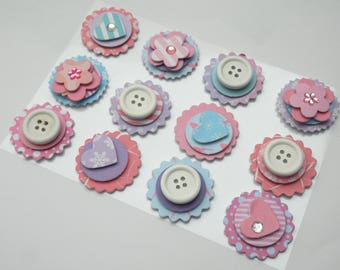 12 Paper decorative  button stickers 3D, Scrapbooking gift decoration pink, Blue Deko-Sticker 3D