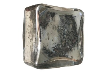 Silver Square Mercury Glass Antique Look Knob Pull for Cabinets, Drawers, Doors