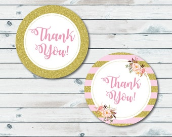 Pink And Gold Thank You Tags, Printable Thank You Tags, Baby Shower Favor Labels, Thank You Printable Stickers, Pink And Gold Baby Shower