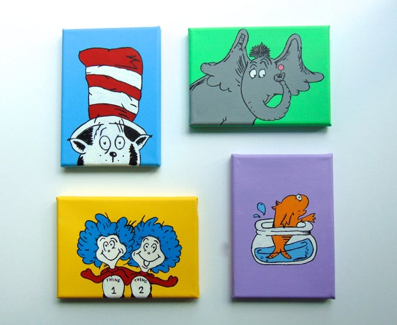dr seuss canvas wall art set cat in the hat thing 1 thing. Black Bedroom Furniture Sets. Home Design Ideas