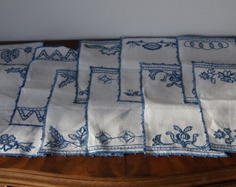 Vintage set of 10 hand embroidery napkins Linen blue white decor