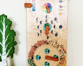 Perpetual calendar - 2018 wall calendar - wooden perpetual calendar - wood calendar - modern perpetual calendar - gift for kids
