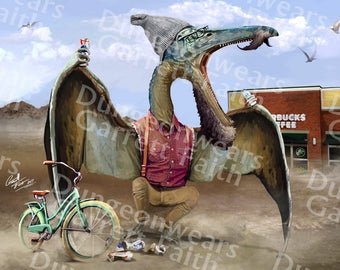 Hipster Pterodactyl Art Print
