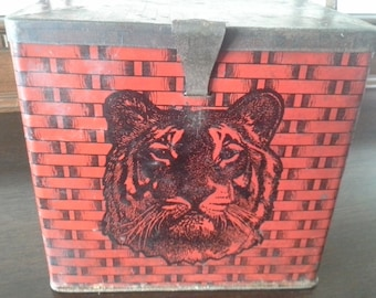 Antique Tiger Tobacco Tin, Tiger Tobacco Lunch Box, Tiger Chewing Tobacco Basket Tin, Red Tiger Lunch Pail, c. 1900-1909, Free Shipping