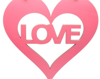 Large Pink Hanging Heart Plaque with Love