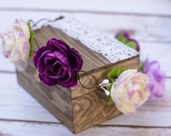flower wreath headpiece purple lilac flower hair crown  Flower Girl crown bridal headband