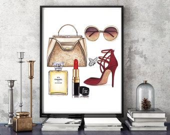 Fendi illustration, Fendi bag, fashion illustration, watercolor fashion, watercolor portrait, fashion accessories, Chanel poster, art print