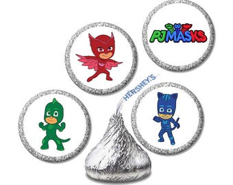 PJ Masks, Cartoon, Hershey Kiss Stickers, Envelope Seals, Birthday, Party Supplies, Goody Bag, Party Favor, Labels, Favors, 120 Stickers