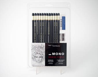 12 Tombow MONO drawing pencils with sharpener and eraser