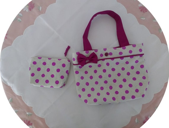 girls handbag / mini tote bag - purple dots