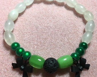 Green, White and Black Bows Diffuser Bracelet