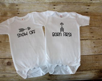 Twin Twins one-piece bodysuit baby shower infant newborn gift set