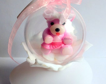 Night light/lamp led/variations in colors/bear/polymer clay/handmade/tutu/pink/white/ball transparent/flower/personalized/Pebble bright