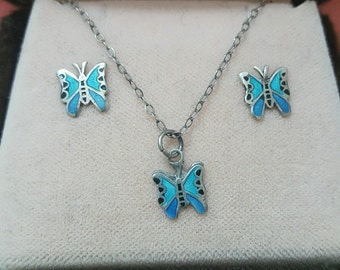 Vintage 925 solid silver necklace & earrings set,blue enamel butterflies, boxed