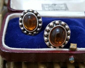 Vintage 925 sterling silver stud earrings, faux amber, everyday wear
