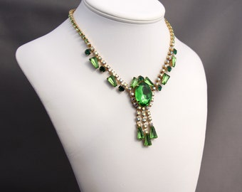 Vintage Emerald Green, Peridot, and AB Rhinestone Necklace and Matching Earrings, Art Deco Rhinestone