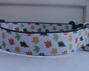 Autumn leaves Dog collar matching lead available multi colour