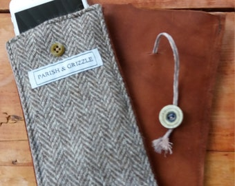 Tweed and full grain leather IPhone case