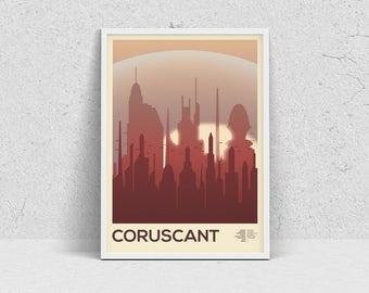 STAR WARS - CORUSCANT, planet print, travel poster, movie poster, minimalist, fan art