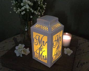 Mr & Mrs Sign / Paper Lanterns / Wedding Centerpiece / Table Number / Rustic Wedding Centerpiece / Luminaries / Rehearsal Dinner Decoration