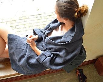 Charcoal blue linen robe - Women's  linen bathrobe - Sizes XS-2XL - High-quality softened linen - Short robe with hood