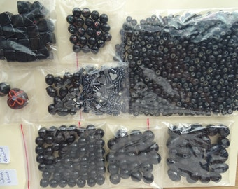 Black Salvaged bead lot recycled from broken jewelry for crafting and jewelry making.