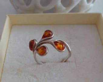 Vintage silver ring with amber stones 90 years